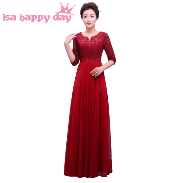 45b0969c9d95 new long modest burgundy chiffon elegant bridesmaid dresses with lace wine  red a-line dress with sleeves women 2019 H3759