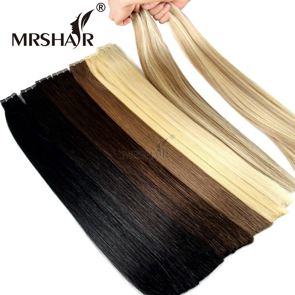 MRSHAIR Double Drawn Tape In Human Hair Extensions Hair Remy Straight Bundles Weave On Adhesives European