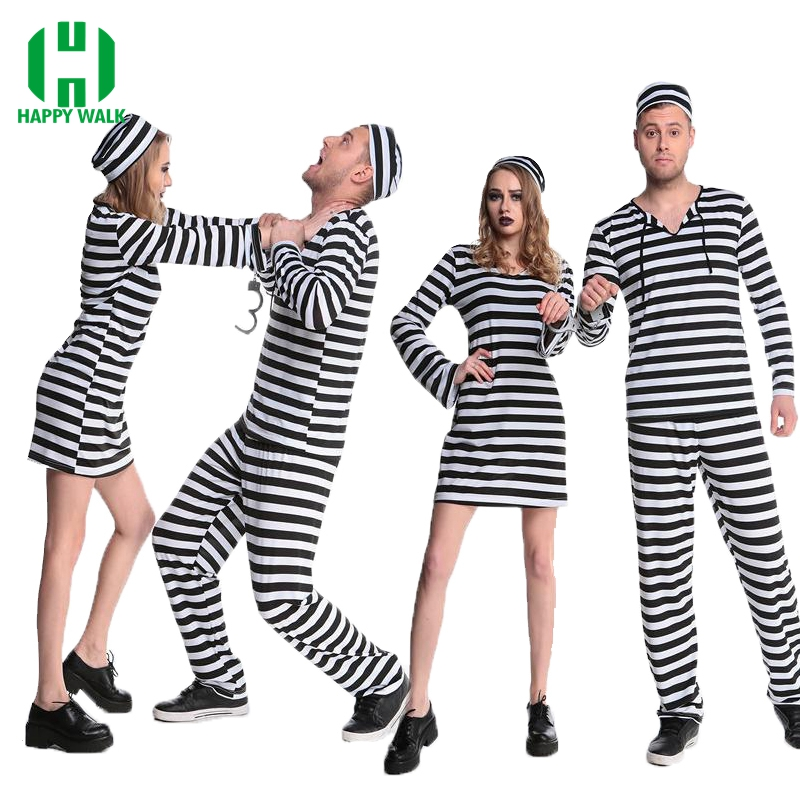 New Arrival Women Men Prisoner Uniform Streak Costume Halloween Carnival Cosplay Clothing Performance Fancy Dress Party Clothes