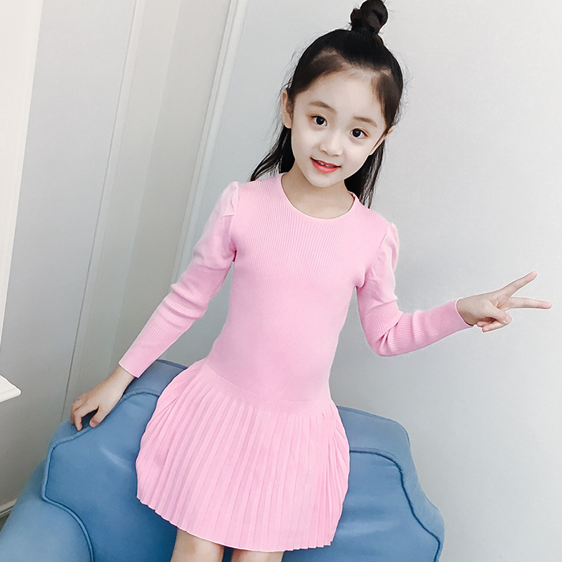 цена на school knitted toddler sweater dress knitting princess kids baby girls autumn dresses yellow pink purple red tops clothing
