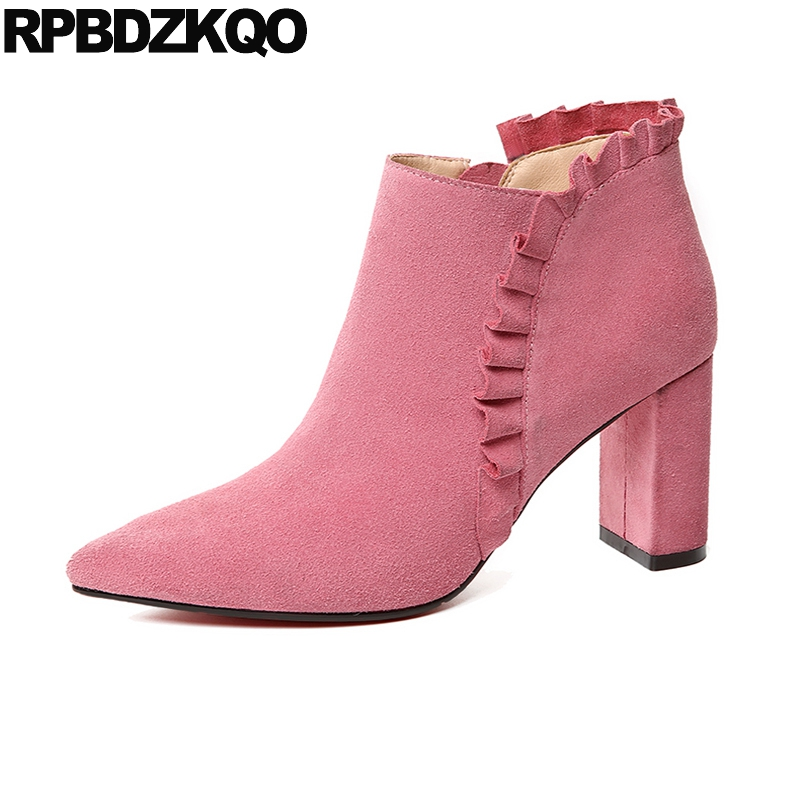Suede Pointed Toe Ankle High Heel Cute Ruffles Pink Boots Chunky Designer Shoes Women Luxury 2017 Booties Autumn Genuine Leather front lace up casual ankle boots autumn vintage brown new booties flat genuine leather suede shoes round toe fall female fashion