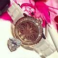 Newly Fashion Women Fashion Watches Quartz-watch Ceramic Band Crystal Dial Watch Clock Women Dress White Watch Bracelet Gifts