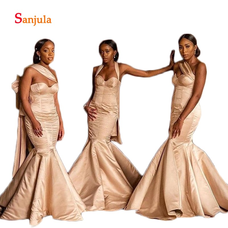 Mermaid Satin   Bridesmaid     Dresses   2019 Sweetheart Champagne Simple African Women Wedding Guest   Dresses   vestidos fiesta boda D1028