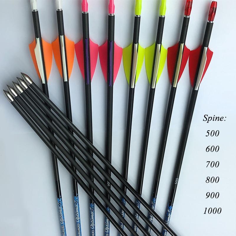 12pcs Archery Spine 800 30 SF Pure Carbon Arrows 1 75 Plastic Vanes 80gr tips arrow