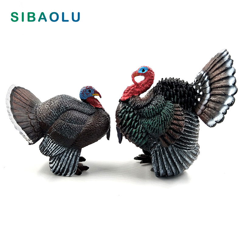 Simulation turkey bird Chicken Farm Pvc animal model figurine home decor miniature fairy garden decoration accessories modern in Figurines Miniatures from Home Garden