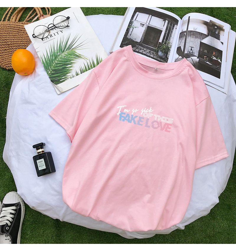 BTS Kpop Fake Love Letter Print Summer T Shirt Women Short Sleeve Fashion Casual Harajuku Tshirt Streetwear Tee Shirt Femme Tops (10)