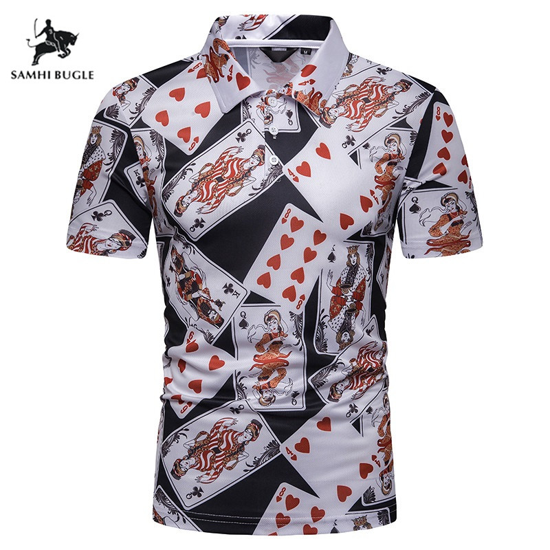 New Print Summer Breathable   Polo   Shirt Cotton   Polo   Short Shirts Mens Europe Fashion Casual   Polo   Homme Men's   Polo   Shirt