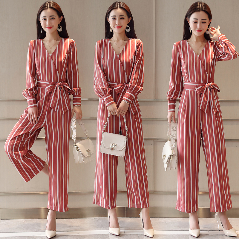 Long striped Rompers Womens Jumpsuit Spring Autumn V neck long Sleeve Loose Pants