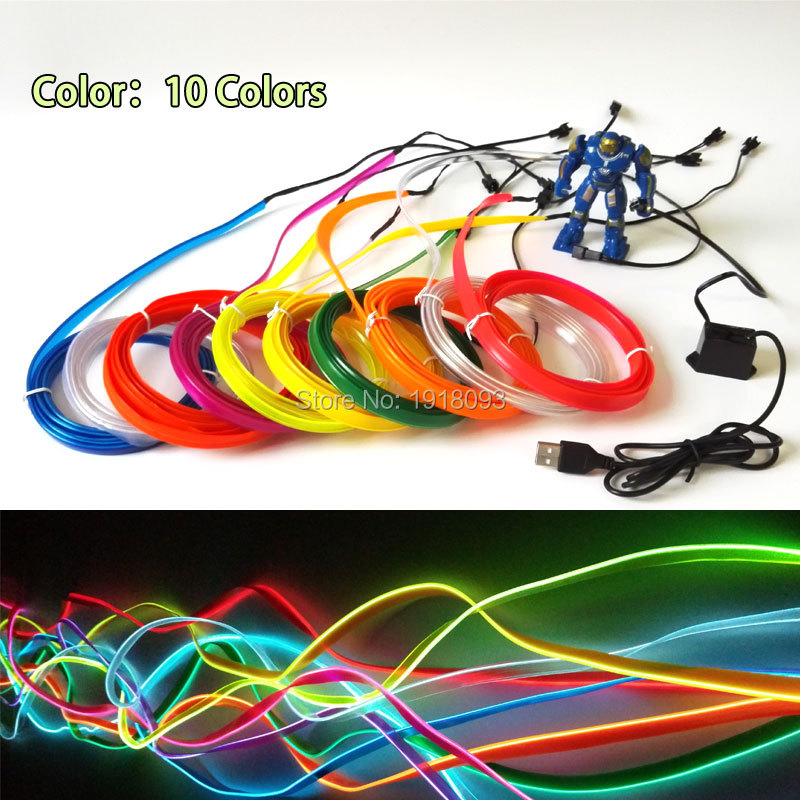 Cheap! New 2.3mm-skirt 2Meter 10Colors Select EL Wire Flexible Novelty Lighting LED Neon Light Input Voltage DC-5V USB Drive