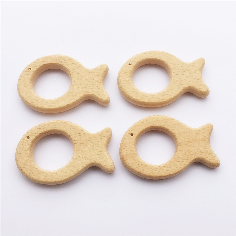 10pcs Fish Wooden Teether Nature Baby Rattle Teething Grasping Toy DIY Organic Eco-friendly Wood Accessories