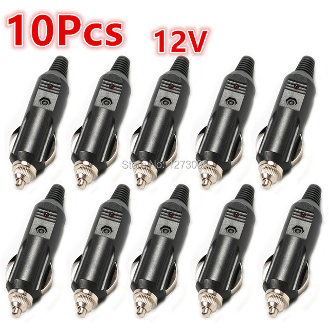 High Quality 10Pcs 12V Male Car Cigarette Lighter Socket Plug Connector With Fuse Red LED Light Car Chargers Car Styling Black