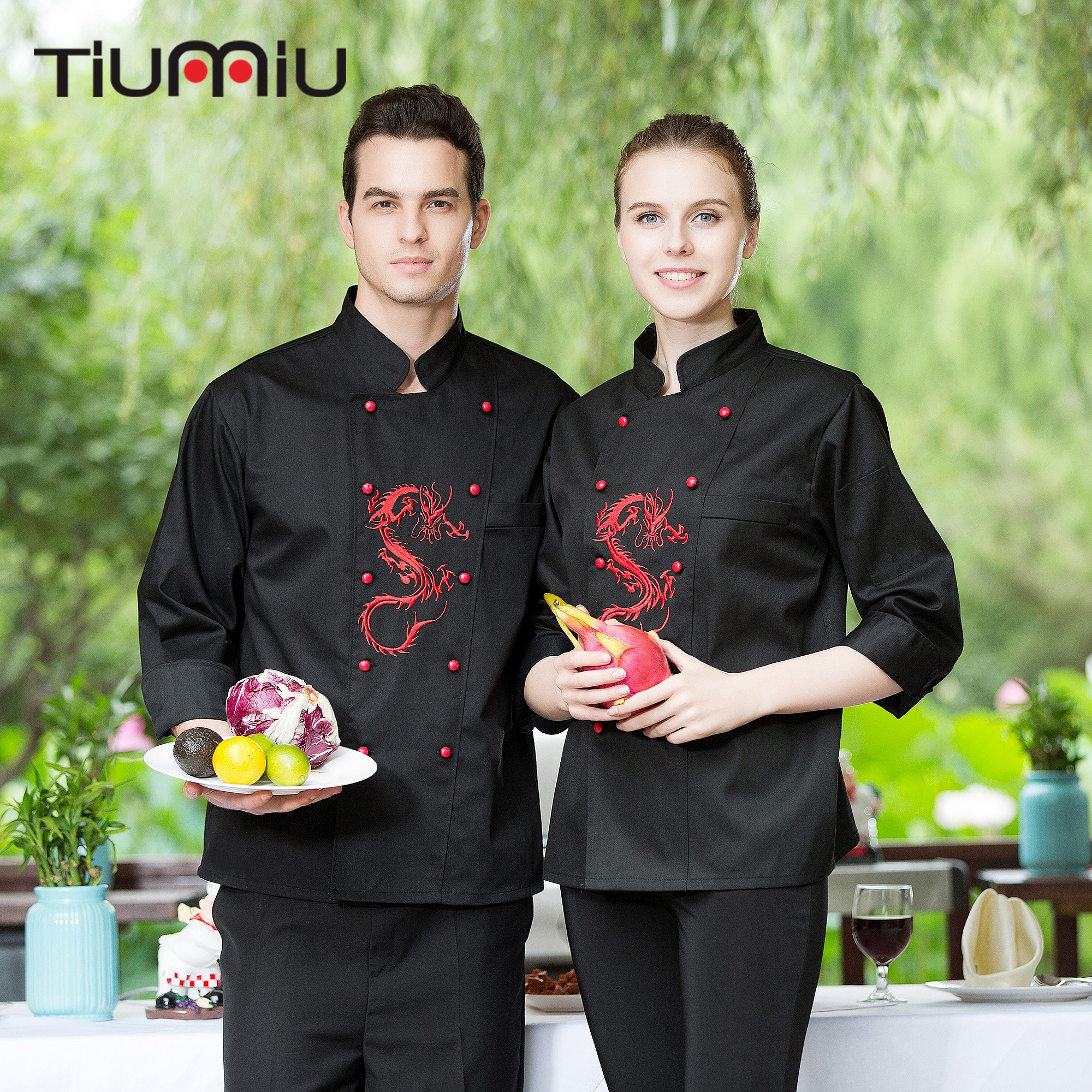 4XL Women Kitchen Cook Wear Embroidery Dragon Double-breasted Uniform Restaurant Bakery Chef Jackets & Aprons Workwear Wholesale