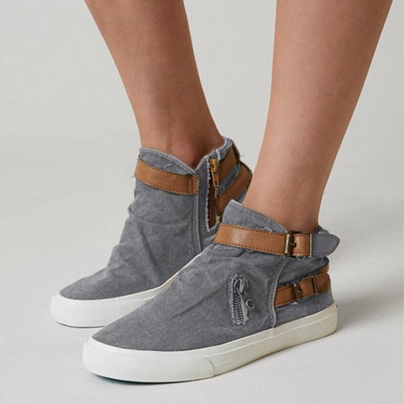 533bd4a11e HEFLASHOR 2019 Women Vulcanize Shoes Outdoor Shoes Ladies Belt Flat Casual  Shoes Fashion Retro Sneakers Plus Size