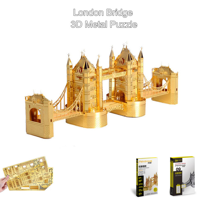piececool gold silver 3d metal puzzle of london bridge world famous building assembly 3d. Black Bedroom Furniture Sets. Home Design Ideas
