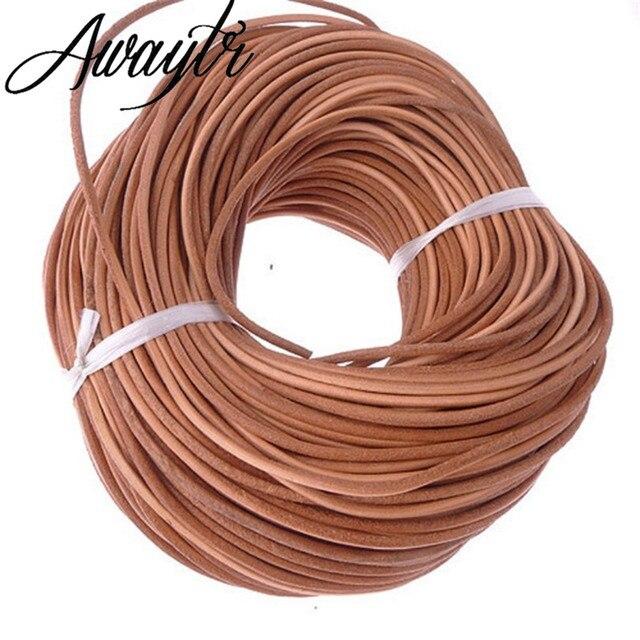 Awaytr Оптовая 100 м 3 мм подлинная натуральной кожи круглый шнур/String/Автор Натуральный Коричневый Кулон Ювелирные Изделия решений/дизайн