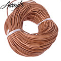 Awaytr Wholesale 100m 3mm genuine real leather round cord/String/Thread Natural Brown Jewelry Pendant making/design