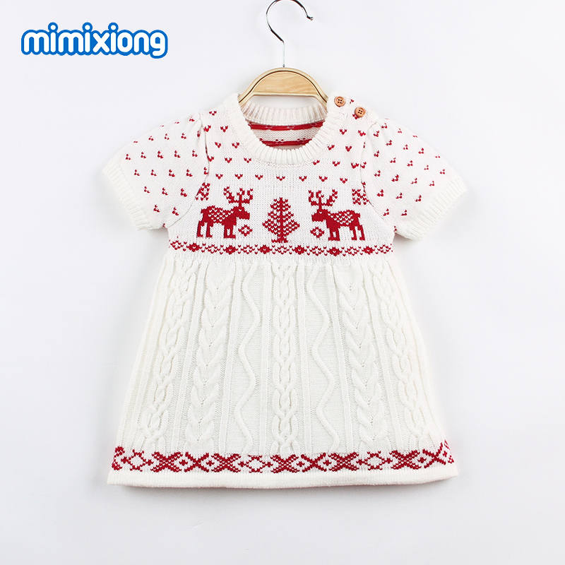 Children Baby Girl Christmas Dress Reindeer Toddler Kid Dresses Autumn Knitted Infant Short Sleeve Vestidos Newborn Clothes 1-4T