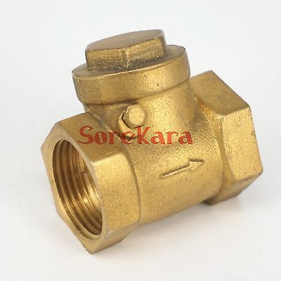 Brass Swing check valve One Way 1.1/4 BSP female to 1.1/4 BSP female Threaded Max Pressure 0.8 Mpa  for water pipe Plumbing vertical type 1 2 pt female threaded brass tone in line check valve