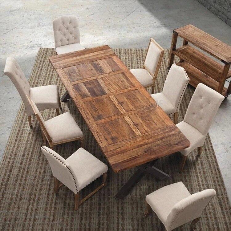 Hierro hacer el viejo retro mesa de comedor de madera maciza ...