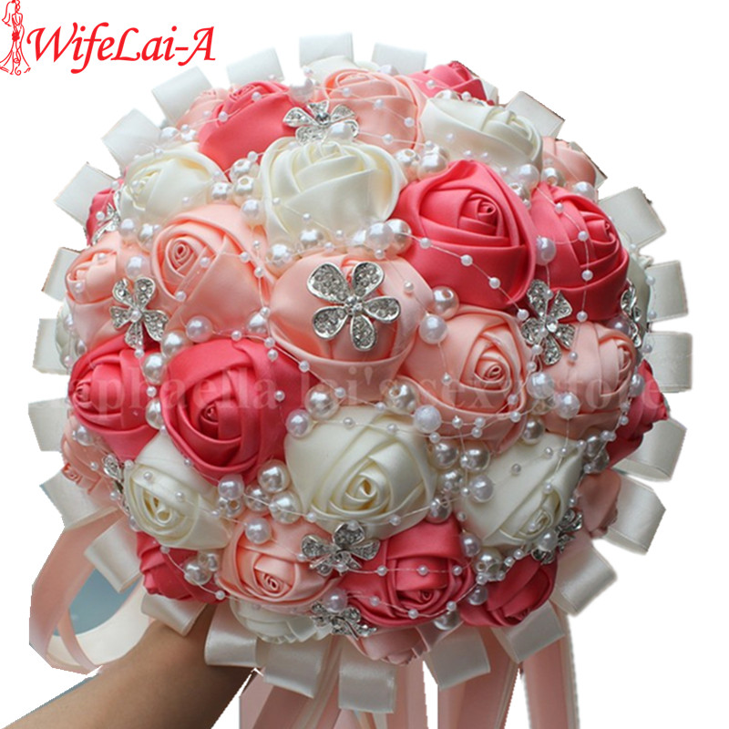 Coral And Pink Wedding Flowers: WifeLai A Coral Pink Ivory Champagne Crystal Satin