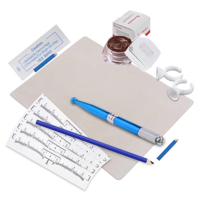 Брови комплект для микроблейдинга лезвия для тату иглы чернильная чашка ручная ручка трафарет для бровей карандаш практика кожи набор Перманентный макияж комплект