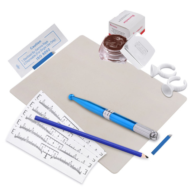 Eyebrow Microblading Kit Tattoo Blades Needles Ink Cup Manual Pen Eyebrow Stencil Pencil Practice Skin Set Permanent Makeup Kit 1