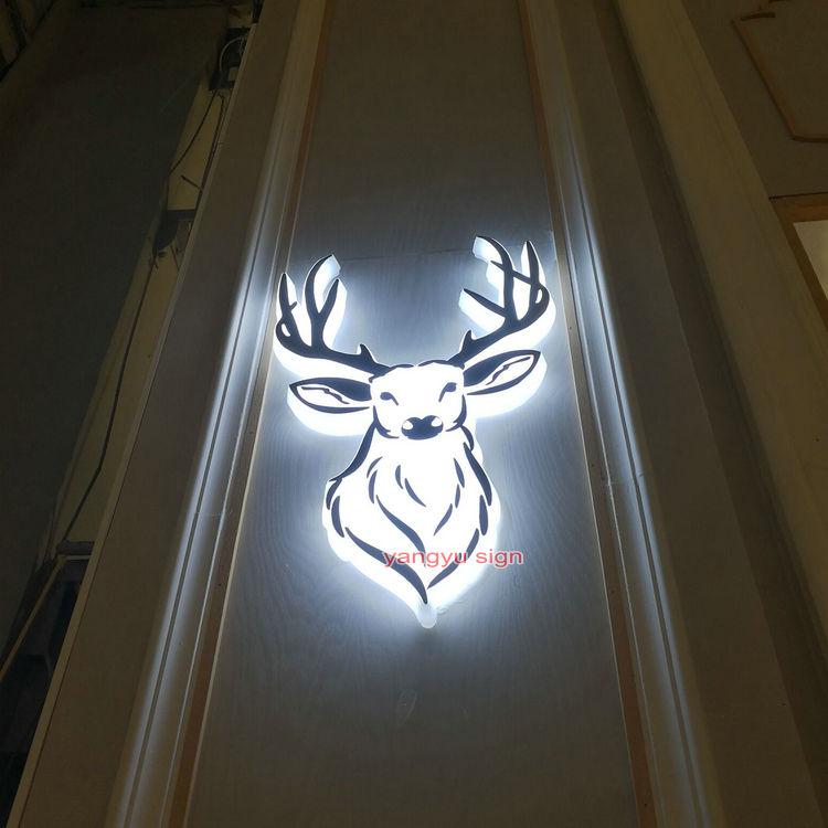 Outdoor 3D stainless steel led backlit signage laser lettering