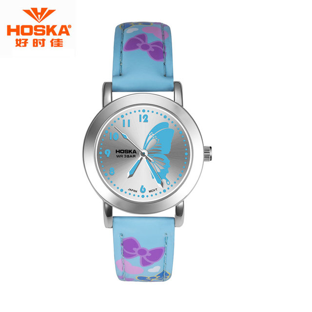 Watch for Children Girl Butterfly HOSKA Kids Sport LED Display Stop Watch Leather Strap Stainless Steel Case Quartz Watch H803