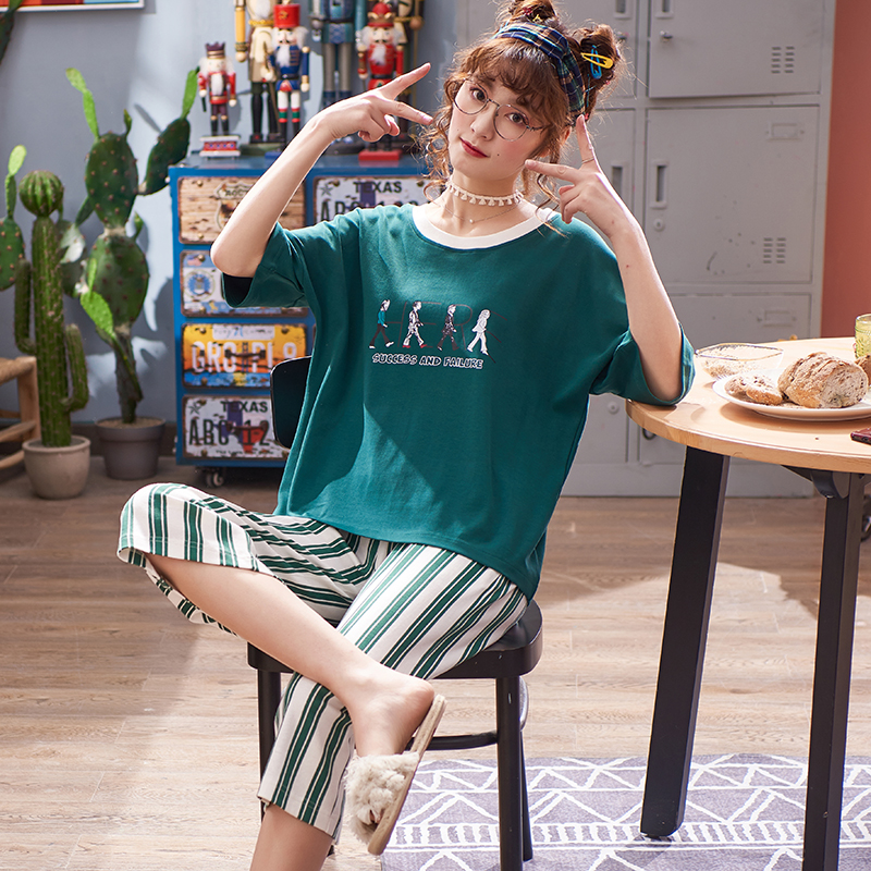 Summer Short-sleeved Seven-cent Pants   pajama     set   Pure Cotton Thin kawaii Loose Sleepwear Summer Home Clothes green women   pajamas