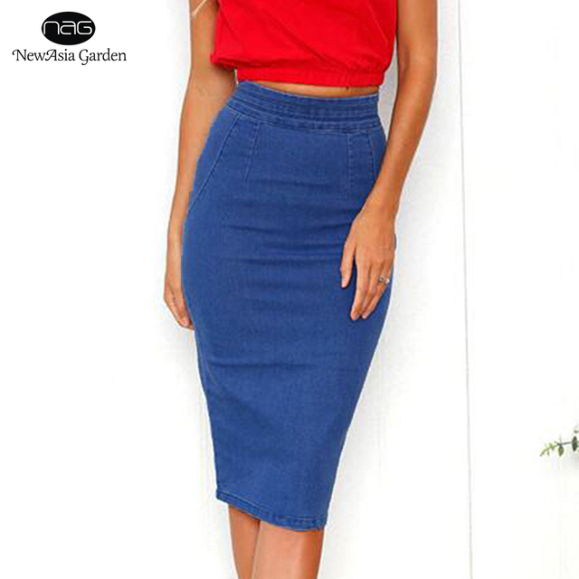 34d733c183f6 NewAsia Garden Women Denim Skirts Jeans Plus Size Midi Skirt Summer High  Waist Pencil Skirt Sexy Bodycon Denim Skirt Blue New
