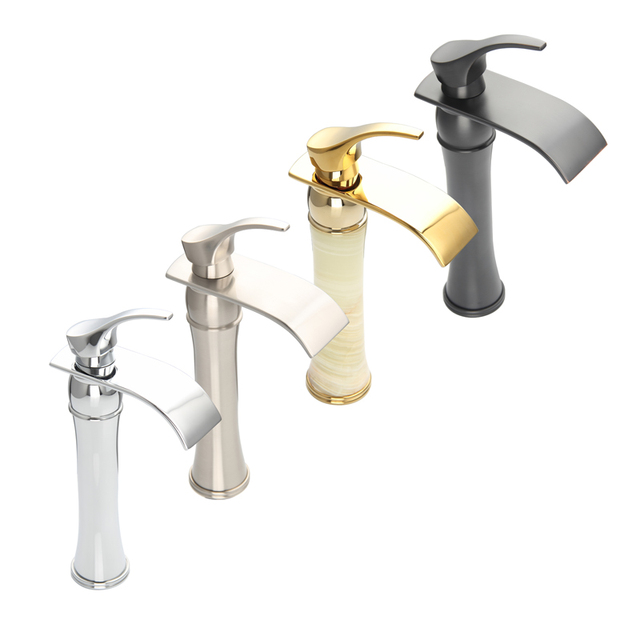 Buy new arrival tall bathroom faucet chrome brushed gold orb single handle sink for Gold and chrome bathroom faucets