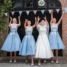 2016 Dreaming Sky Blue Bridesmaid Dresses Scoop Lace Organza Tea-Length De Casamento Robe Demoiselle D'honneur Bridesmaid Dress