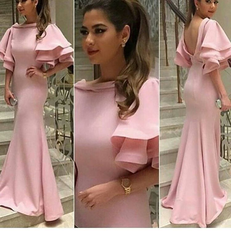 New Arrival Flower Ruffle Sleeves Mermaid   Prom     Dress   Cute Pink Long Evening   Dress   2018 Custom made Plus Size Lady Party Gowns