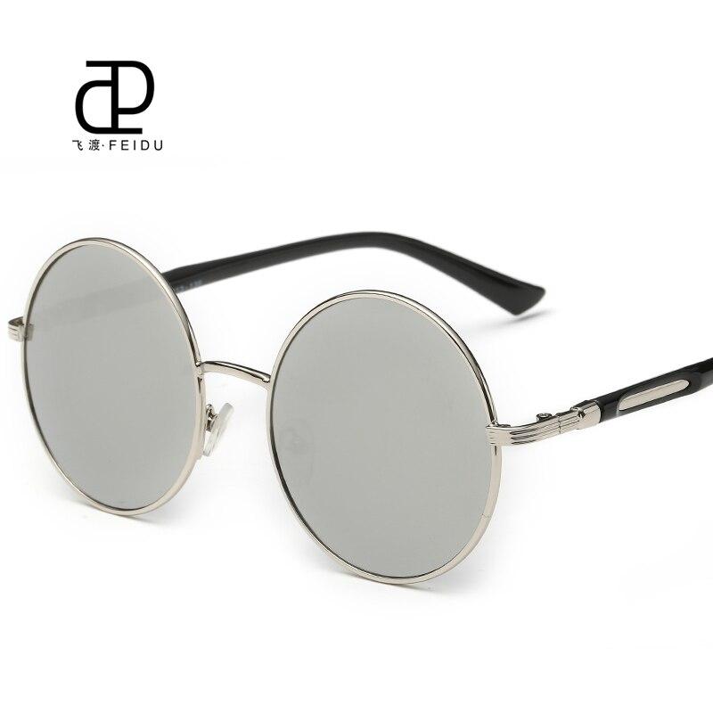 FEIDU 2016 Alloy Round Sunglasses Women Men Retro Coating Mirror Steampunk Sun Glasses Circle Eyewear Oculos De Sol Feminino