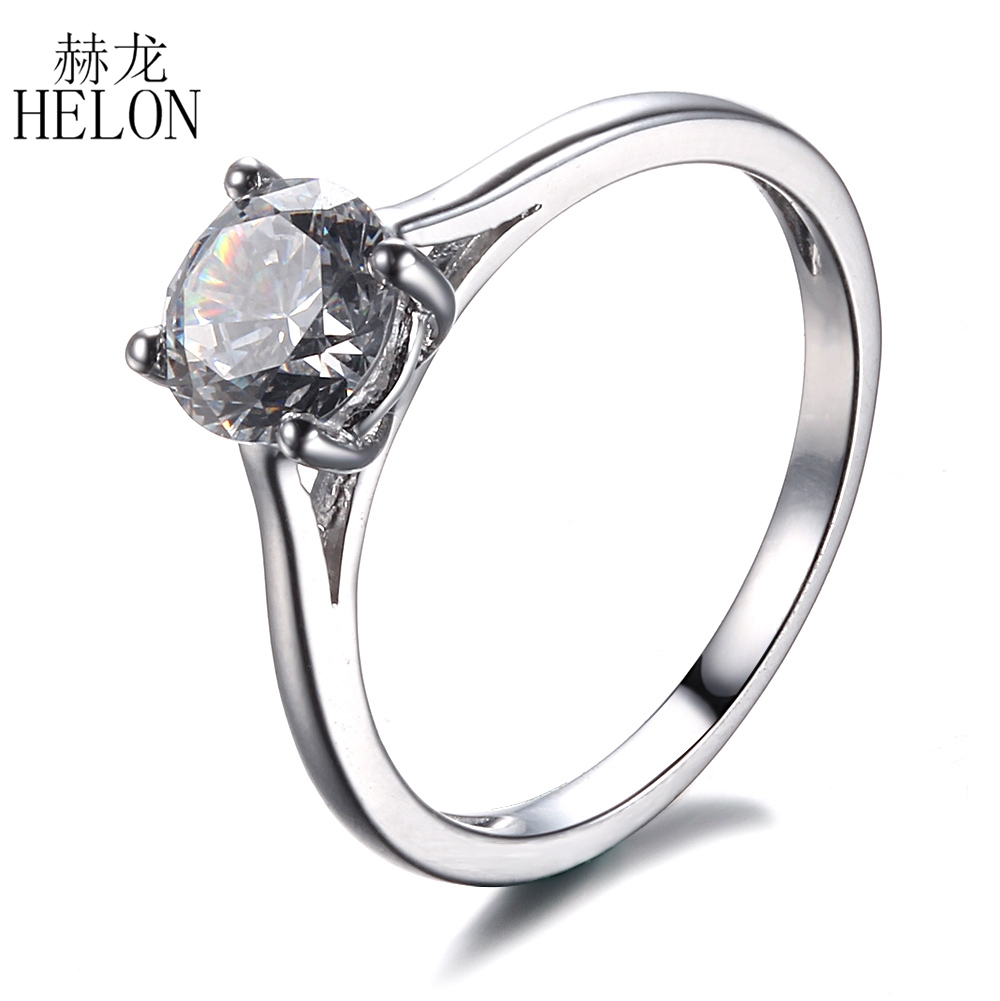 HELON Sterling Silver 925 Flawless Round Cut 6.5MM 1ct Lab Grown Moissanite Diamond Wedding Ring For Women Trendy Fine Jewelry helon sterling silver 925 flawless 11x9mm emerald cut 4 36ct real blue topaz natural diamond engagment wedding ring fine jewelry