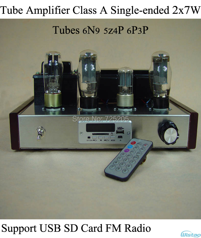 Tube Amplifier Class A Single ended 6N9 Pre amplifier 5Z4P Rectifier 6P3P Power Amp U Disk SD Card FM Remote Control HIFI Audio