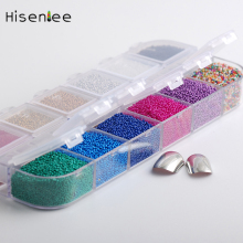 Hisenlee 12 Colors 1Box Micro Ball Crystal Nail Caviar Beads Glass Trend Art Decorations Tips Set