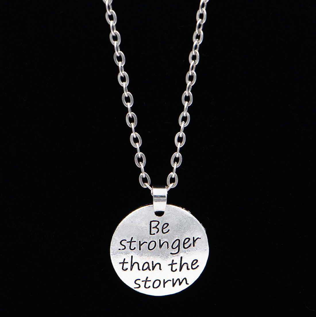 XCHARMS 66DIY Store 2017 New Be stronger than the storm Lettering Round Pendant Necklace Chain Women Trendy Jewelry Gift
