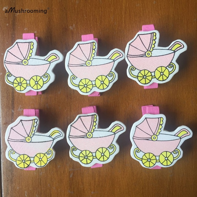 (48 Pieces/lot) Pink Stroller Baby Shower Wooden Mini Clothespins Baby Girl  Party Photo Banner Clips