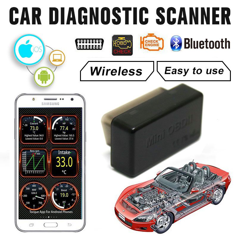 Car Diagnostic Scanner OBD2 obdii Wireless ELM327 Car Code Reader Scan Bluetooth 4.0 Engine Diagnostic Tool for IOS Android
