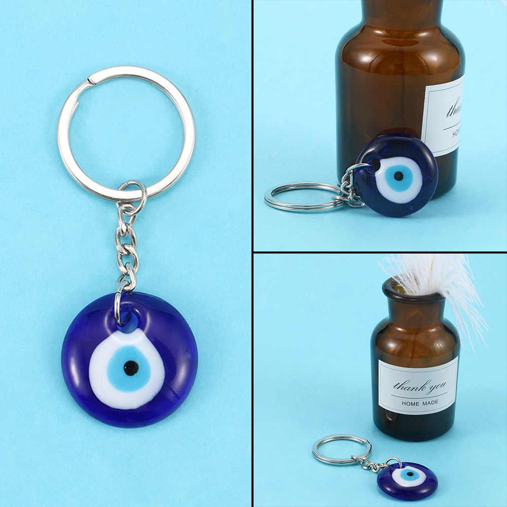 Fashion Lucky Turkish Greek Blue Evil Eye Charm Pendant Gift Fit DIY Keychain Car Key Chains Ring Holder Accessories