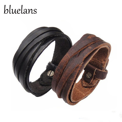 Bluelans Men Women Unisex Multi thong braided thin Leather Bracelet wristband Jewelry Items 00JS