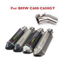 C600 C650GT Motorcycle Exhaust Pipe Muffler Silencer Escape Connect Mid Link Pipe Slip on C600 650 for BMW C600 C650GT 2011-2020 цена и фото