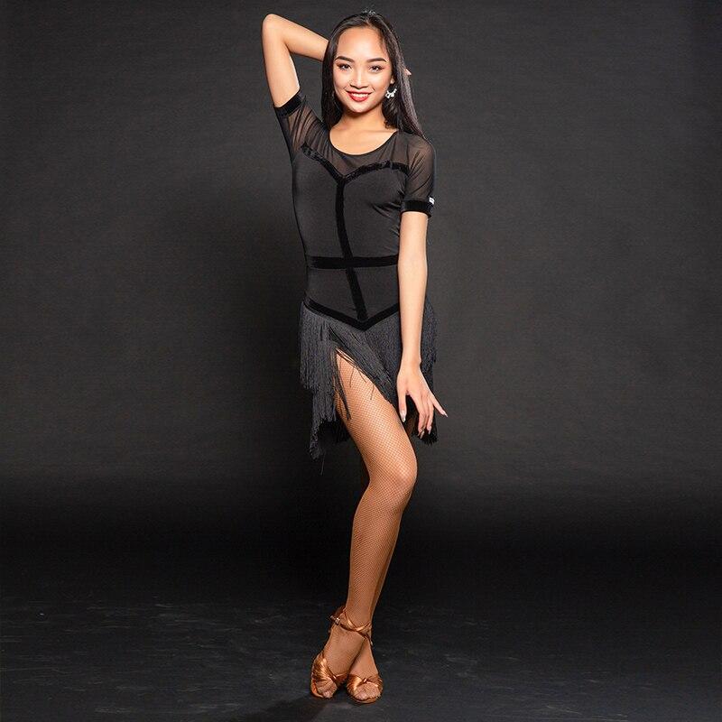 Latin dance clothes women's new suit exercise clothes performance clothing tassel Latin dance dress A3169