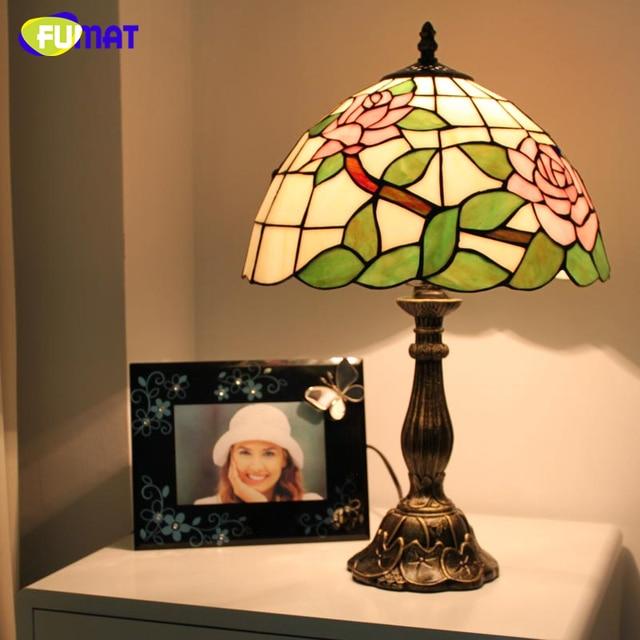 Fumat Stained Gl Table Lamp Pink Blue Roses Art European Desk Abajur