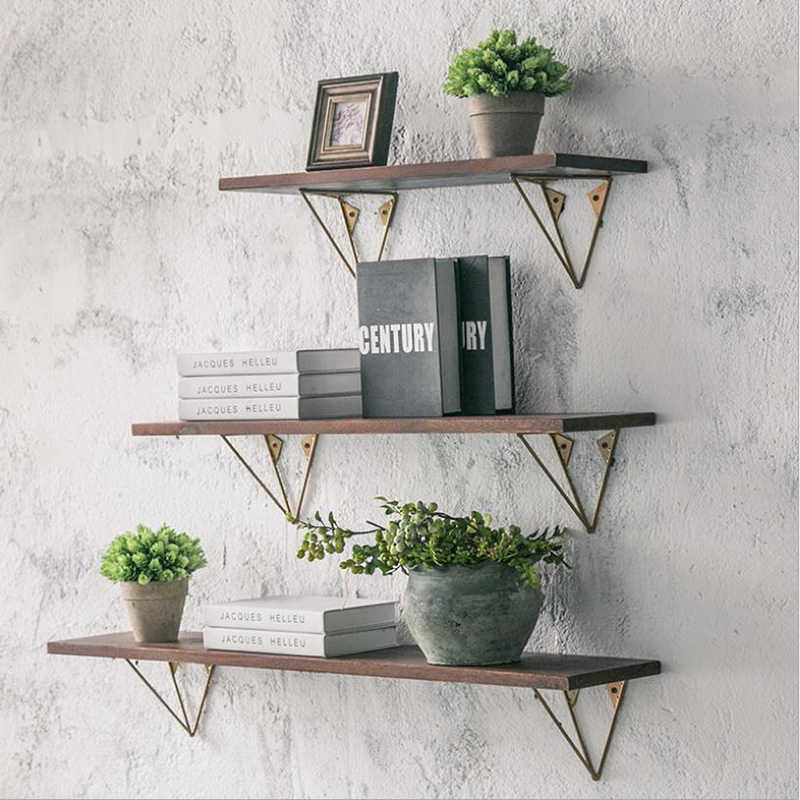 Solid wood shelf creative wrought iron multi-function storage rack word Nordic simple modern wall wall shelf