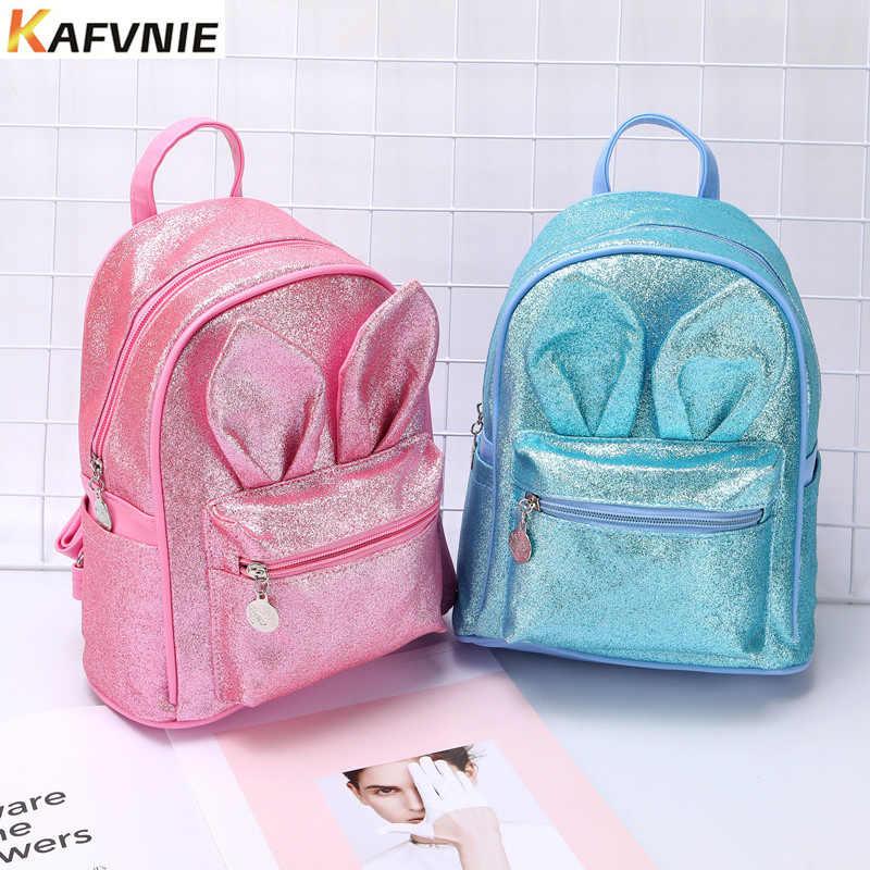 KAFVNIE Последняя мода для детей рюкзак высокого качества Школьные рюкзаки PU мультфильм девочка ребенок Блестящий розовый красный сумка для детей