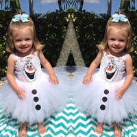 Summer Fancy White Snowman Children Girl Tutu Dress Olaf Baby Lace Dress Birthday Party Outfits Vestido