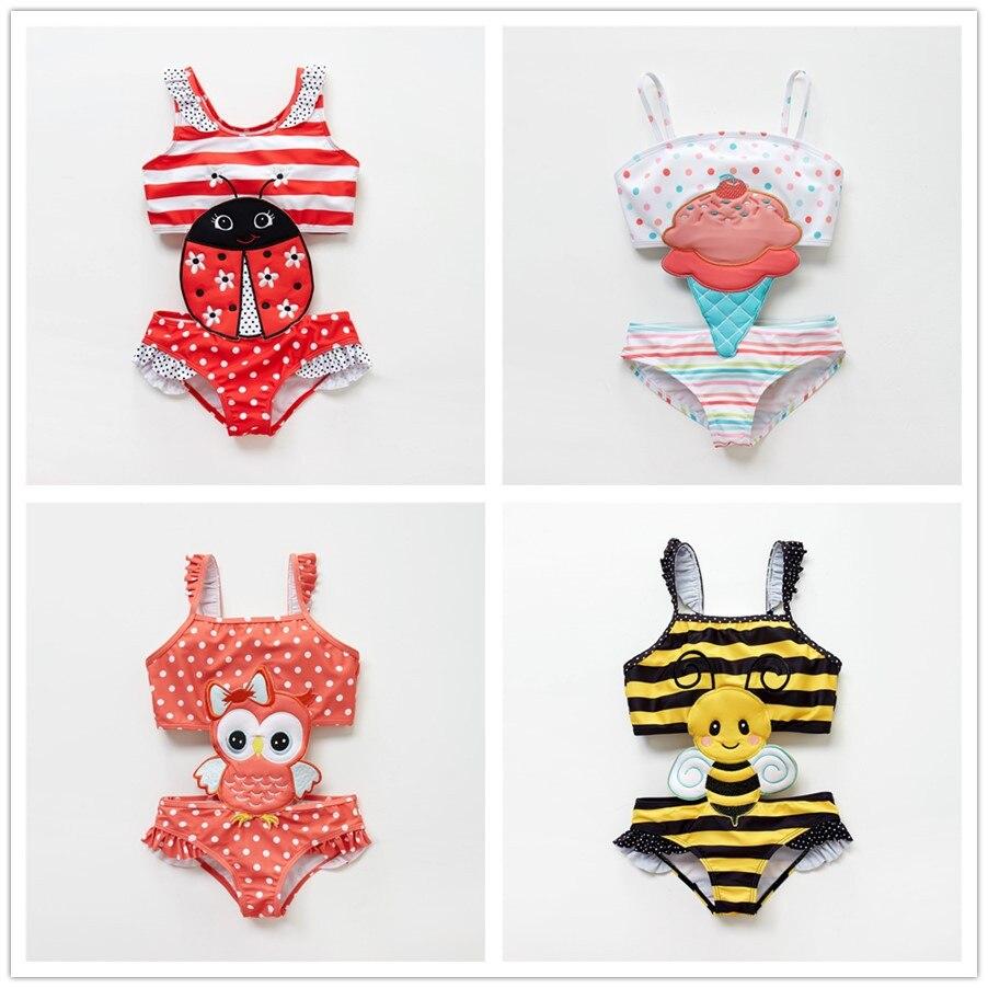2019 Newborn Baby Girls Bikini Swimming Suits Cute Bowknot Bathing Suit Floral Swimwear Beach Wear Costume One Piece Swimsuit