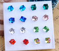 Wholesale 8 pairs/card  Mixed Color Girls Crystal Stud Earring Square Stone Earrings Outstanding Earing Women Jewelry